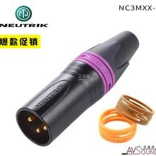 NEUTRIK три ядра XLR баланс cannon штекер NC3MXX-B черный позолоченный с цветным кольцом