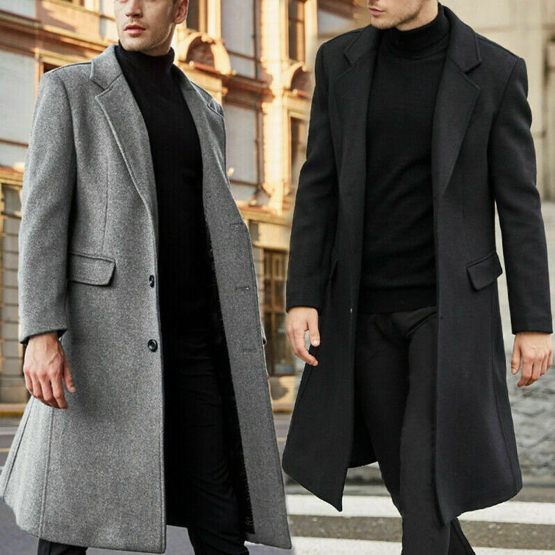 2020 Newest Fashion Men Winter Warm Overcoat Wool Coat Trench Coat Outwear Long Jackets Boy Cool Warm Coat Solid Color Long Coat
