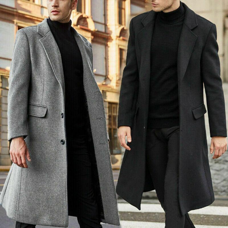 2020 Newest Fashion Men Winter Warm Overcoat Wool Coat Trench Coat Outwear Long Jackets Boy Cool Warm Coat Solid Color Long Coat