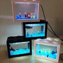 USB Mini Aquarium Fish Tank With LED Lamp Light Betta Fish Fighting Cylinder Acrylic aquarium fish tank fish breeding box