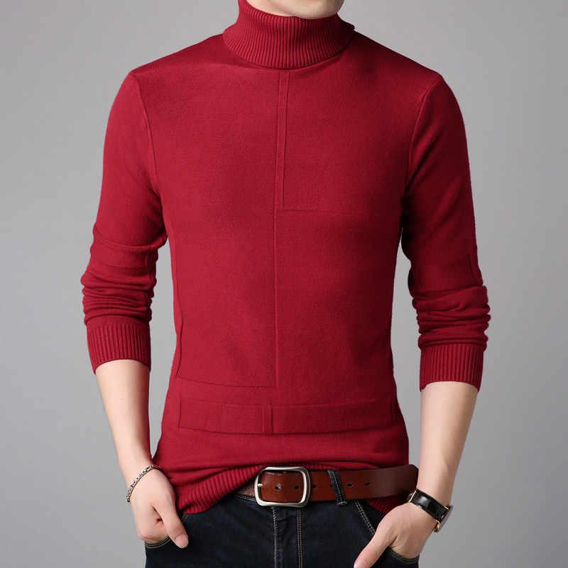 2019 브랜드 의류 패션 남자 가을 고품질 목화 니트 셔츠/남성 슬림 맞는 높은 칼라 캐주얼 니트 스웨터 크기 S-3XL
