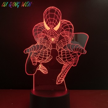 цена DC Marvel Superhero Spider Man Figure Kids Led Night Light Bedroom Decor Nightlight veilleuse enfant 3D Night Spiderman Lamp онлайн в 2017 году