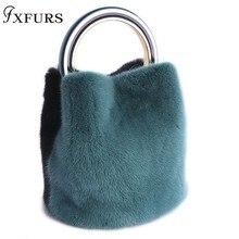 2019 New Mink Fur Handbags Women Winter Fashion Wrist Bag Casual Message Hard Handle Bucket Ring Portable Shoulder Slant