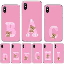 Stijlvolle Roze Teddybeer Letters Zwart Tpu Soft Phone Cover Voor Iphone 4 4 S 5 5 S 5c Se 6 6 S 7 8 Plus X Xs Xr 11 Pro Max(China)
