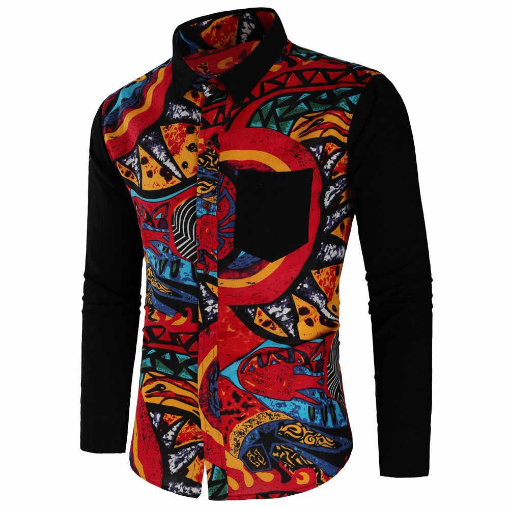 Nuovo Casual camicie da Uomo da uomo A manica Lunga slim fit Stampa Gira-giù il Collare camisas Grande Formato C810