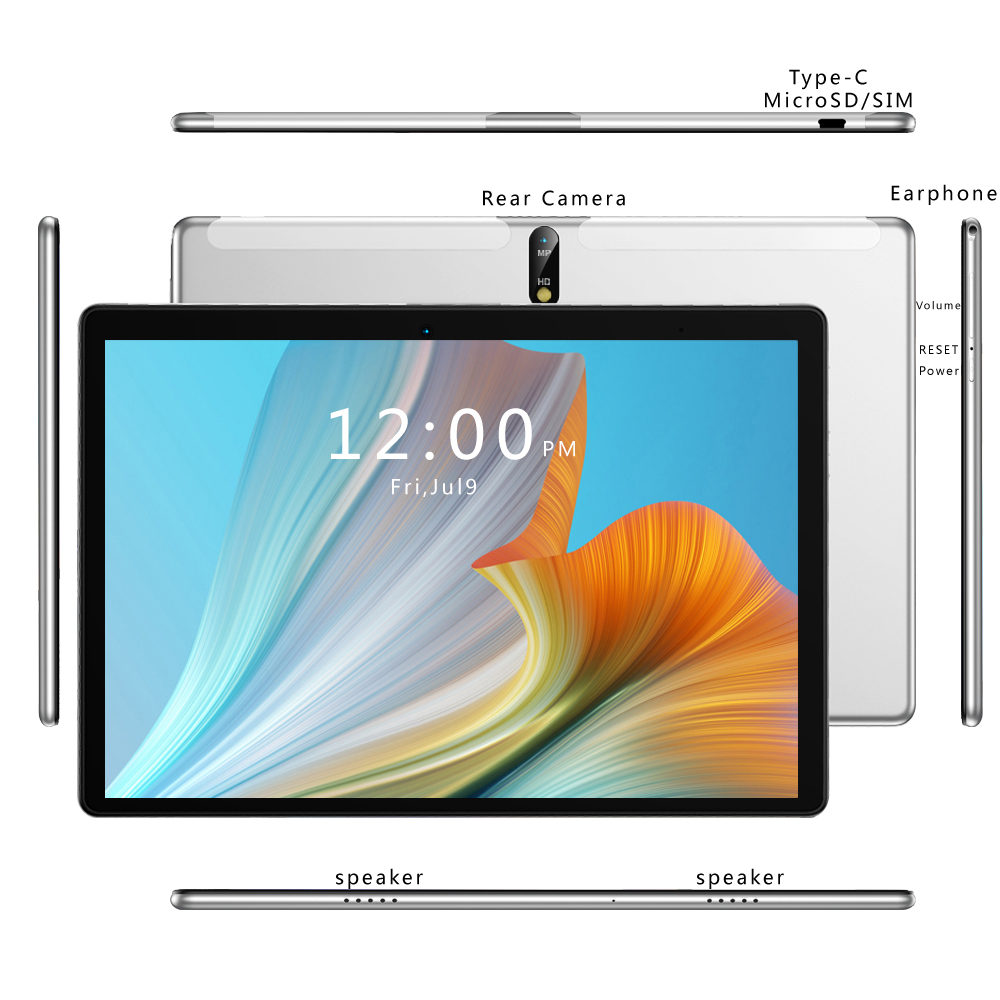 New Tablet Pc 10.1 Inch Android 9.0 Tablets Octa Core Google Play 3G 4G LTE Phone Call GPS WiFi Bluetooth 10 Inch Glass Panel 5