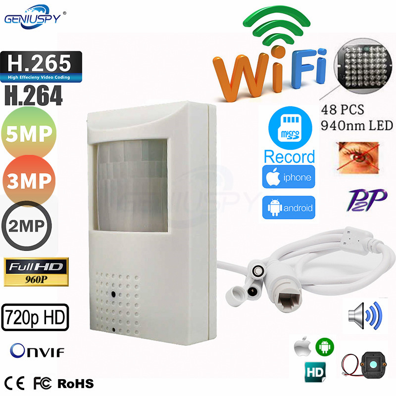 5MP 1080P Pin Hole 940nm IR Wifi IP Camera PIR STYLe Wired Wifi Wireless IP Camera 2MP Security Microphone Audio P2P Onvif Camhi