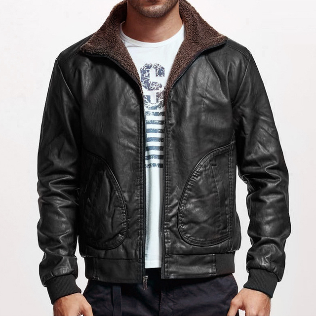 Winter Mens PU Jacket Thick Warm Men's Motorcycle Jacket New Fashion Windproof Leather Coat Male Size 3XL 4