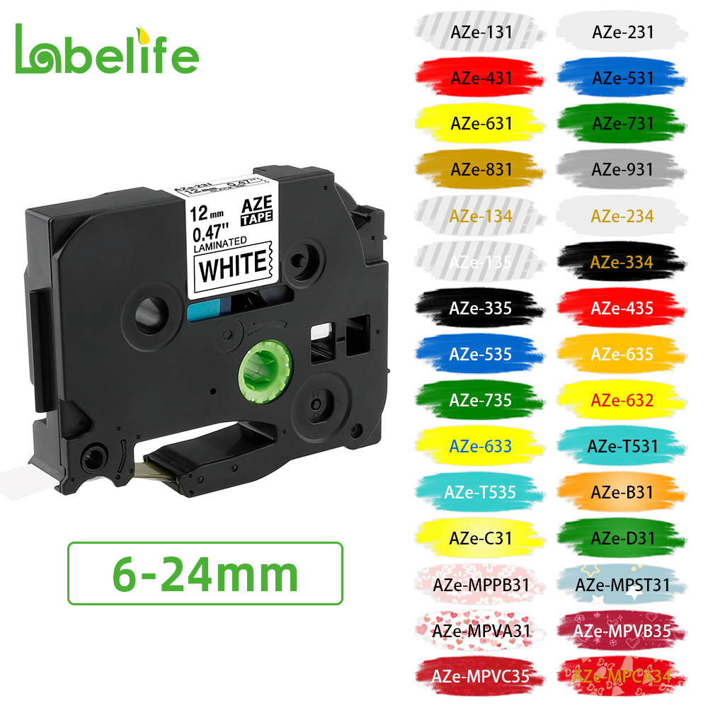 Label-Tape Tze-231 Compatible 12mm PT-D200 for P-Touch Black on White