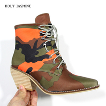 цены Lace Up Chunky Heel Bootie Camouflage Print Round Toe Block Heel Boots Mid Calf Shaft 2020 Spring/Autumn Boots Women Night Club