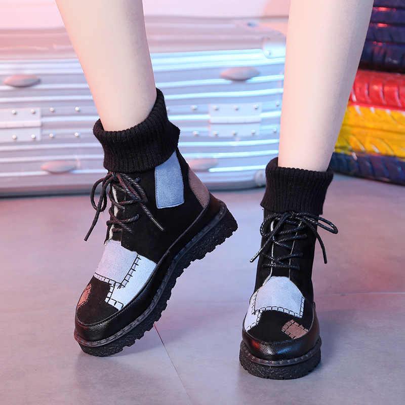 2019 nuovo Autunno della Molla di Svago di Modo Calzini E Calzettoni e scarpe delle donne Coreano scarpe di corrispondenza dei colori per il tempo libero Delle Donne scarpe vulcanizzate