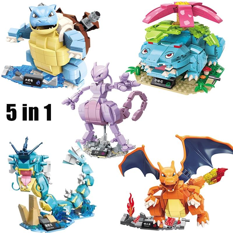 new Pikachu Anime pokemon Model Set 2 in 1 3 in1 Blastoise Venusaur Charizard Gyarados Animal DIY Building Blocks Toys Kids gift 1