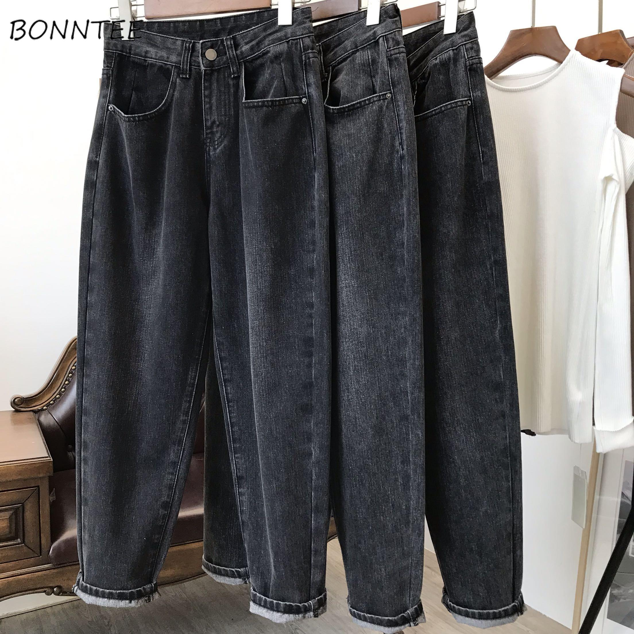 Jeans Women Ankle-length High Waist Straight All-match Womens Trousers Harajuku Pockets Daily Casual Fashion BF Loose 2XL Chic