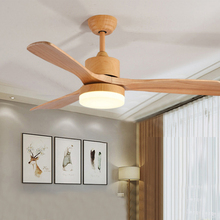 купить 42 inch LED ceiling fan remote control wooden Home fans with light 24w 220v retro living room dining bedroom dimming cooling fan дешево