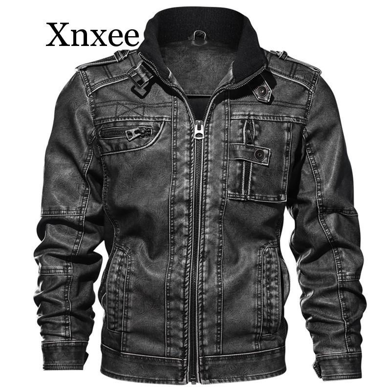 Новинка, мужская куртка из искусственной кожи, зимняя куртка в стиле милитари, куртка бомбер, осенняя модная верхняя одежда, мотоциклетная Б... - 3