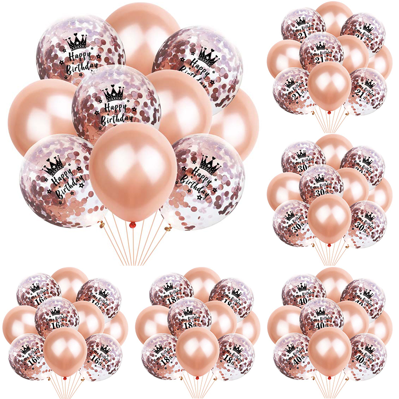 10pcs 12inch Rose Gold Latex Balloons Number <font><b>Crown</b></font> Confetti Balloon <font><b>18th</b></font> <font><b>Birthday</b></font> Baloons Happy <font><b>Birthday</b></font> Party Decorations Adult image