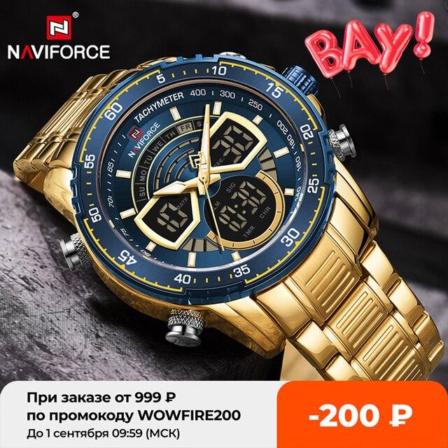NAVIFORCE Mens Military Sports Waterproof Watches Luxury Analog Quartz Digital Wrist Watch for Men Bright Backlight Gold Watches 1