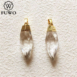 Image 2 - FUWO Carved Crystal Quartz Point Pendant 24k Gold Electroplated Natural Semi precious Stone Jewelry Accessories Wholesale PD136