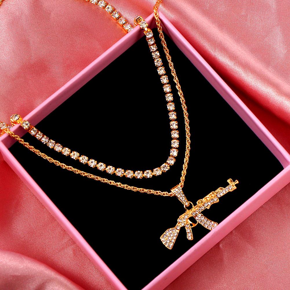 Flatfoosie AK47 Gun Long Chain Pendant Necklace For Women Multilayer Bling Rhinestone Tennis Chain Necklace Fashion Punk Jewelry