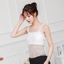 Summer New No Anti-lighting Small Chest Tube Top Lace Stitching Bra Steel Ring Gathers Stiching base strap wrapped chest