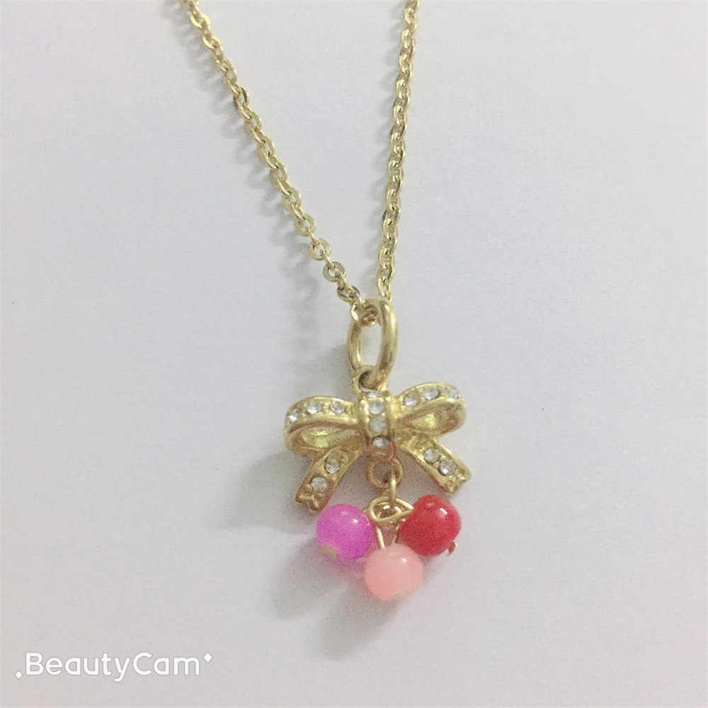 Bowknot necklace stainless steel necklace pendant with bead charm cute part gift free ship