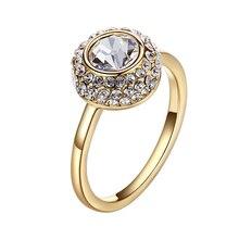 Warme Farben ประดับด้วยคริสตัลจาก Swarovski สีขาวหินสีทองแหวนเครื่องประดับ Zirconia หมั้น
