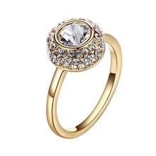 Warme פארבן קשט עם קריסטל סברובסקי לבן שקוף אבן זהב צבע טבעת תכשיטי Zirconia חתונת אירוסין