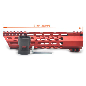 Aplus Red New Design 9'' inch Ultralight M-lok Clamping Handguard Rail Picatinny Mount System_Slant Cut Fit .223/5.56, AR-15