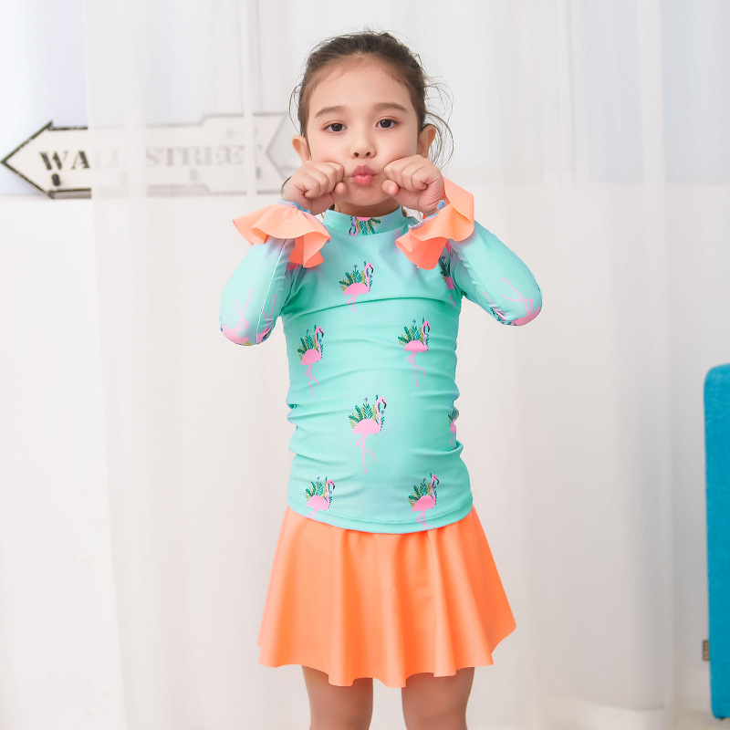 18 New Style Hot Sales Two-piece Swimsuits Long Sleeve Short Skirt Sweet Little Princess Cartoon Flamingo Baby Girls KID'S Swimw