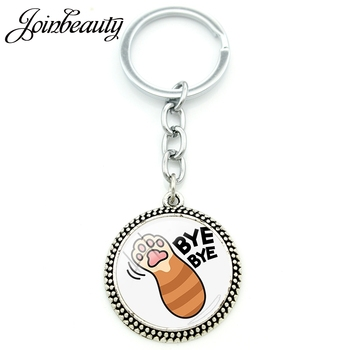 JOINBEAUTY BYEBYE Cat Paw Print Lovely Picture Round Pendant Keyring Metal Chain Glass Dome Cute Charm Girl Keychain Party NT329 image