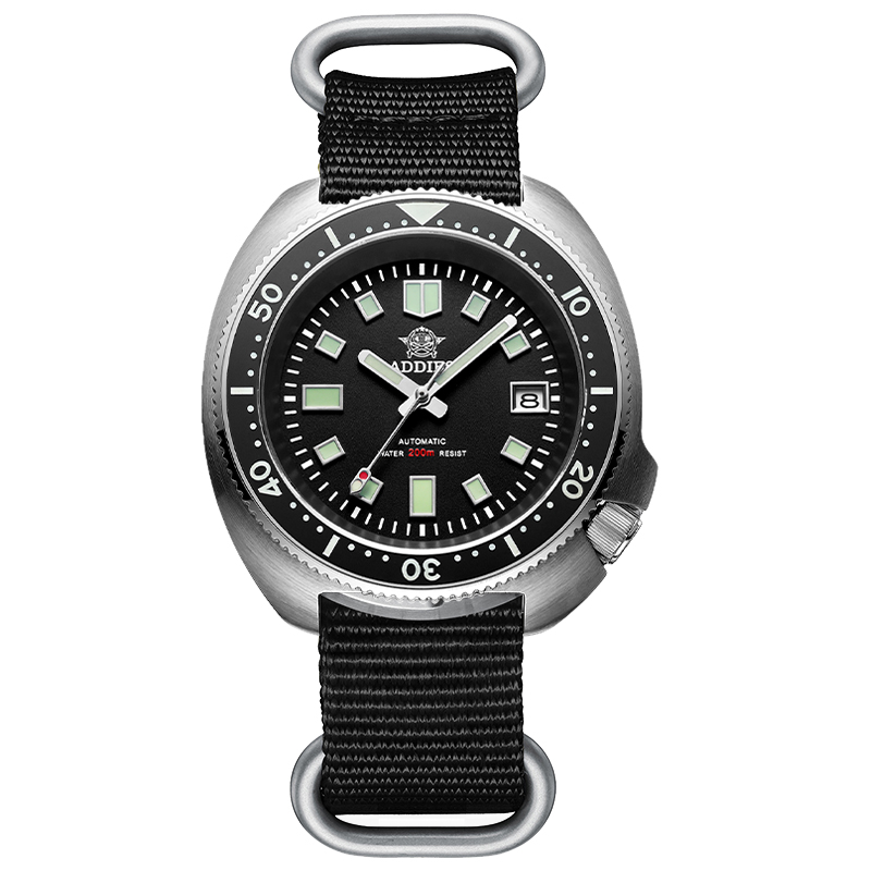 1970 Abalone Dive Watch 200m Sapphire crystal calendar NH35 Automatic Mechanical Steel diving Men's watch 12