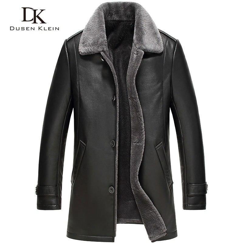 Men's Leather Jacket Wool Interior  New Dusen Klein Genuine Sheepskin Wool Collar Middle Long Designer Male Coat 61Z16017