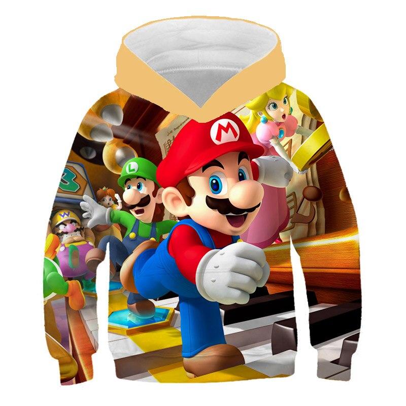 gar/çon Fille Sweat d/écontract/é Streetwear 4-14 T Sweat /à Capuche 3D Enfants Dessin anim/é Anime Super Mario imprim/é Pull Veste Super Mario Pull