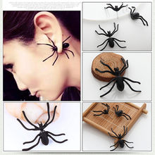 1PC 2019 New Halloween Decoration 3D Creepy Punk Black Spider Earrings Animal Haloween Stud Ear cuff Earring for Party DIY Decor(China)