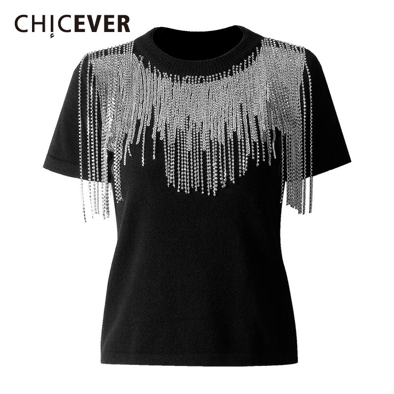 CHICEVER Diamonds Tassels Knitted Sweater Women O Neck Short Sleeve Slim Sequin Knitting Sweaters Female 2020 Spring Fashion New