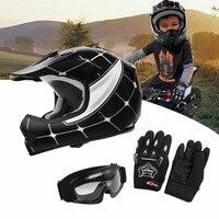 DOT Motorcycle Youth Kids Child helmet full face motocross casco moto Off-road Street Goggles Gloves Bike helmets ATV capacete 4