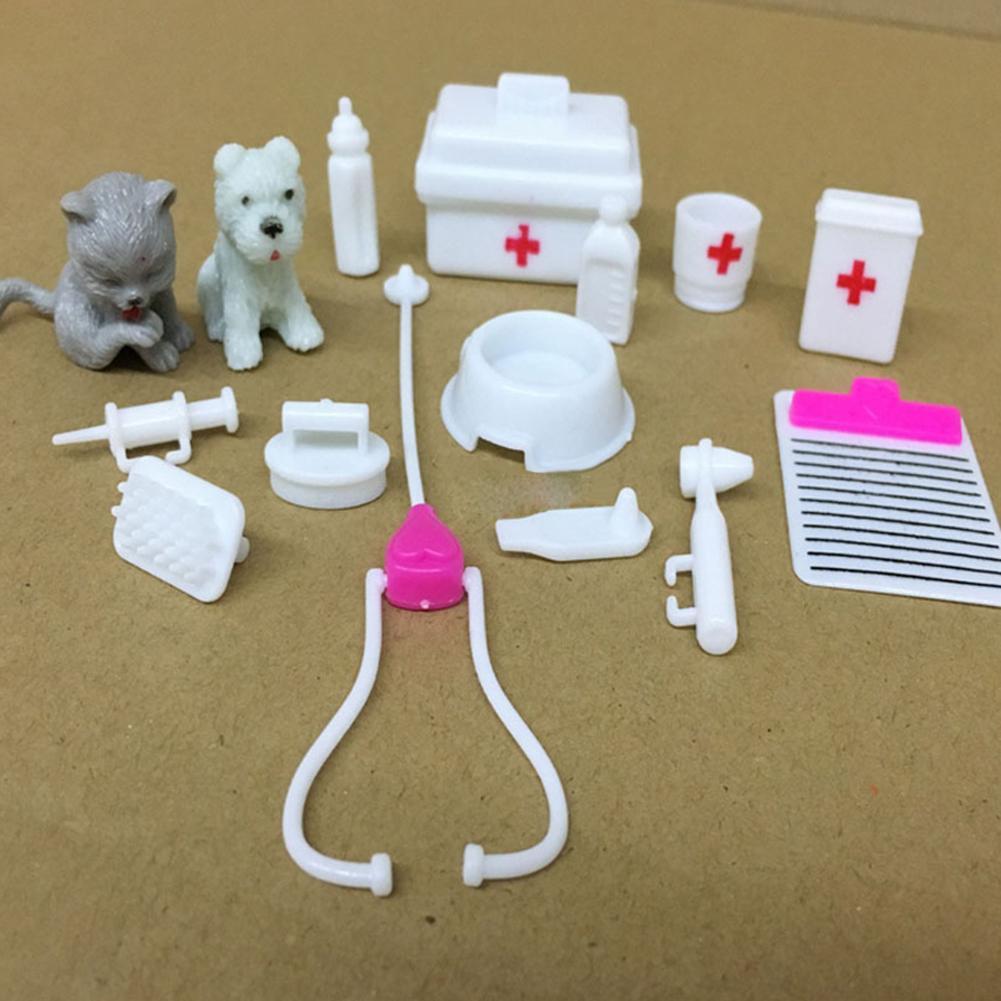 15Pcs/Set Miniature Dollhouse Vet Suitcases Medical Kit Box Kids Pretend Play Toys Doll Accessories For Doctor Nurses Toys