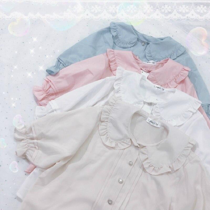 Japanese Summer Women Lolita Style Blouse Peter Pan Collar White Apricot Pink Blue Female Blusas Cute Kawaii Ruffles Girl's Top