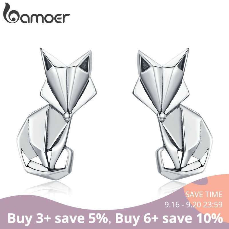 BAMOER Hot Sale Genuine 925 Sterling Silver Fashion Folding Fox Animal Stud Earrings for Women Sterling Silver Jewelry SCE526