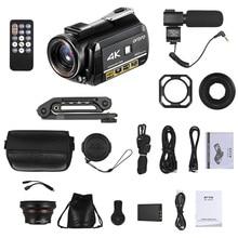 ORDRO AC3 4K واي فاي كاميرا فيديو رقمية كاميرا 24 ميجا بكسل 3.1 بوصة IPS 0.39X زاوية واسعة لين + ميكروفون + لين هود + حامل كاميرا