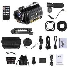 ORDRO AC3 4K WiFi 디지털 비디오 카메라 캠코더 24MP 3.1 인치 IPS 0.39X 와이드 앵글 Len + 마이크 + Len 후드 + 카메라 홀더