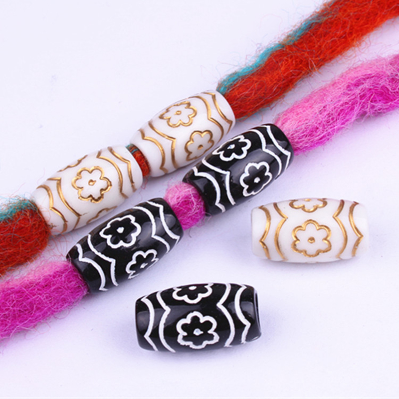 10pcs Acrylic Carved Flower Hair Braid Dread Dreadlock Beads Cuffs Clips White Black Hair DIY Jewelry Accessories 11mm*20mm