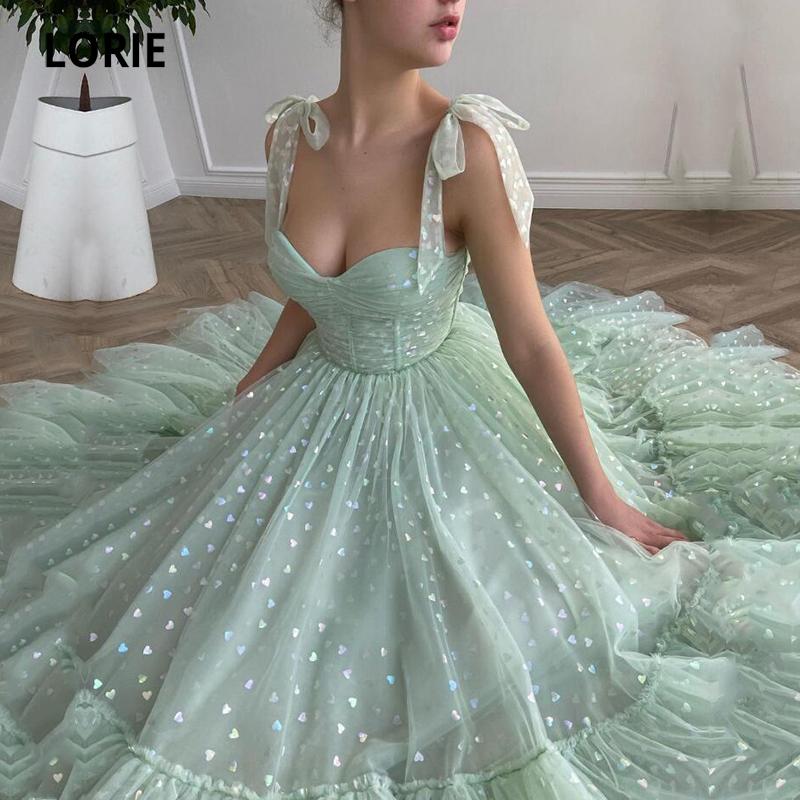 LORIE Glitter Prom Dresses Mint Green Adjustable Straps Shiny Love Tulle Tea Length Arabic Wedding Party Graduation Dress 2021