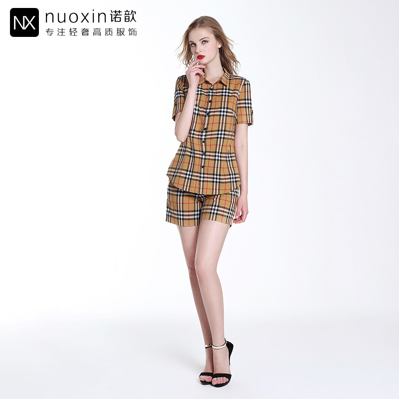 2018 Summer New Products Luxury Brand WOMEN'S Dress Fold-down Collar Pattern Shirt With Elastic Waist Pattern Shorts Set Factory