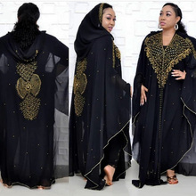 H&D african dresses for women dashiki clothes beaded black dress hooded cape maxi robe femme vestidos de fiesta noche