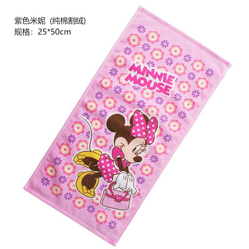 Disney25*50cm Cute Mickey Cotton Towel Wash Home Cartoon Minnie Bath Men And Women Towel Children Rectangular Towel