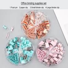 Clips de encuadernación con caja acrílica, Clips de papel, empuje para juegos de Pins, accesorios de oficina, organizador, suministros escolares, 72 Uds.