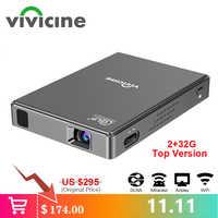Vivicine T10 Android 7.1 OS Pico Mini projecteur, HD Portable Micro WIFI Bluetooth DLP Mobile projecteur LED avec batterie