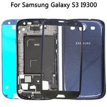 For Samsung Galaxy s3 i9300 Battery Cover Back Door + Middle Frame Bezel Plate + Touch Screen Glass Outer Panel Full Housing(China)