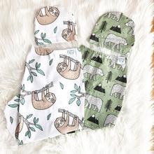 цена на Baby Cotton Swaddle Blankets Newborn Baby Sleeping Bag Infant Sleeping Bag with Hat Cartoon Print Newborn Infant Sleepsack